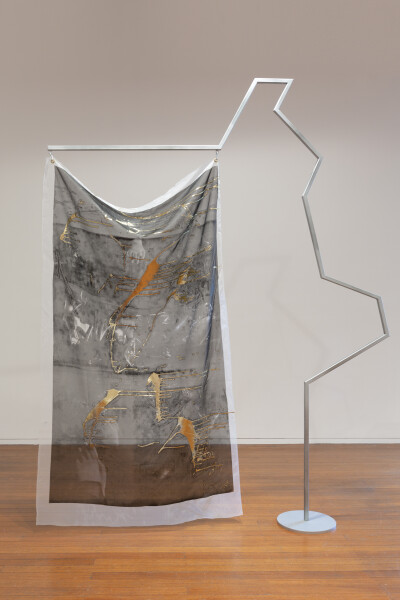 Mikala Dwyer Flags, 2018; painted steel, fabric, carabiner; 272 x 220 x 36 cm; (III); enquire