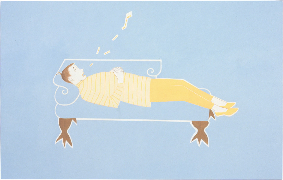 Vivienne Shark LeWitt I sing the Sofa (9 am), 1995; oil on linen; 86 x 137 cm; enquire