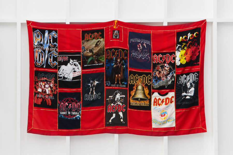 Nell AC/DC Altar Cloth (from Chanting with Amps), 2012; fabric and vintage t-shirts; 135 x 220 cm; enquire