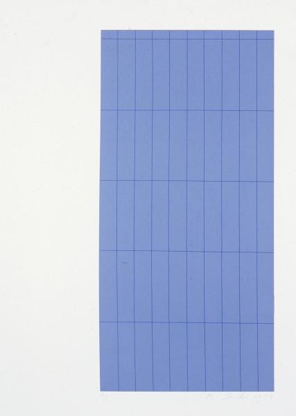 Robert Jacks Blue Grid, 1974; silkscreen print; sheet 66 x 51 cm, image 52.8 x 25.4 cm; enquire