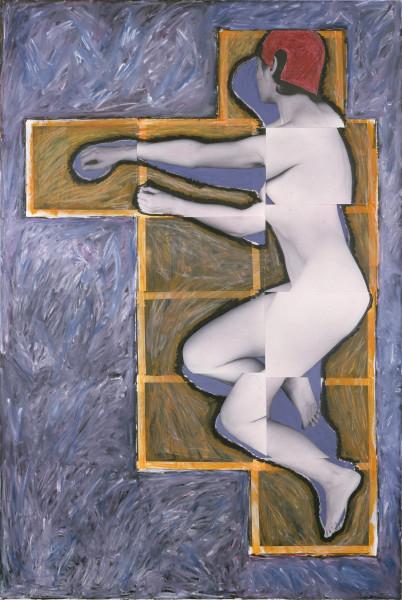 Julie Rrap Persona and Shadow: Pieta', 1984; cibachrome print; approx. 194 x 105 cm; Edition of 9 + 2 A/Ps; enquire