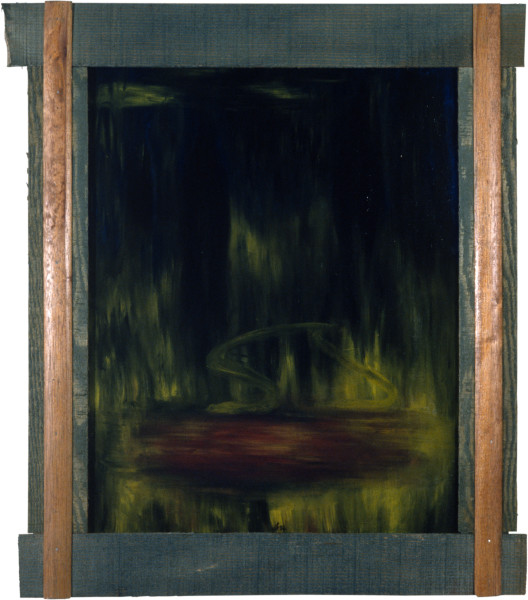 Dale Frank Portrait in the Pond and Pool at Night, 1982; acrylic and impregnated varnishes on canvas; 90 x 72 cm; enquire