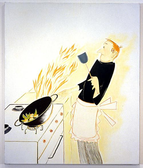 Vivienne Shark LeWitt Stir-fried Tofu and Snowpeas, 2001; oil on linen; 97 x 81 cm; enquire