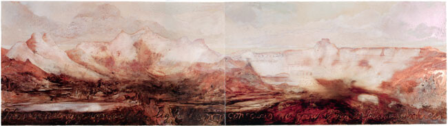 Mandy Martin The Pyramids, 2002; Diptych, oil, ochre & pigment on linen; 135 x 488 cm; enquire