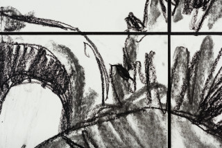Pierre Mukeba Falsidical Paradox (P1) (detail), 2021; charcoal on archival paper; 120 x 168 cm; enquire