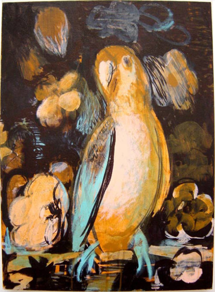 Tony Clark Parrot-portrait with Flowers, 2003; acrylic on canvas; 61 x 46.5 cm; enquire
