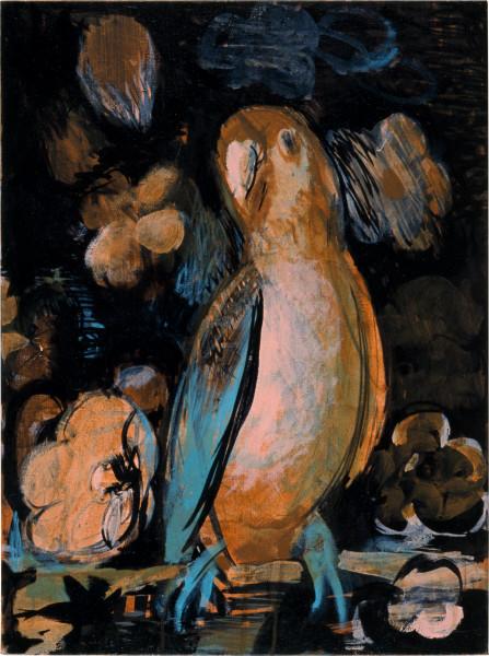 Tony Clark Parrot-portrait with Flowers, 2003; acrylic on canvas; 61 x 46.5 cm; enquire