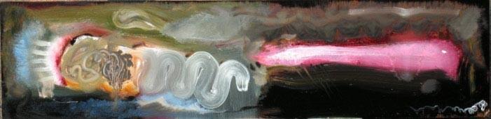 Louise Hearman Untitled #1171, 2005; oil on masonite; 13 x 50 cm; enquire
