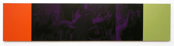 Lindy Lee Nine Heavens, Nine Earths, 2006; acrylic on boards, archival inks on pure cotton photorag ; 6 panels, 40.5 cm x 180cm; enquire