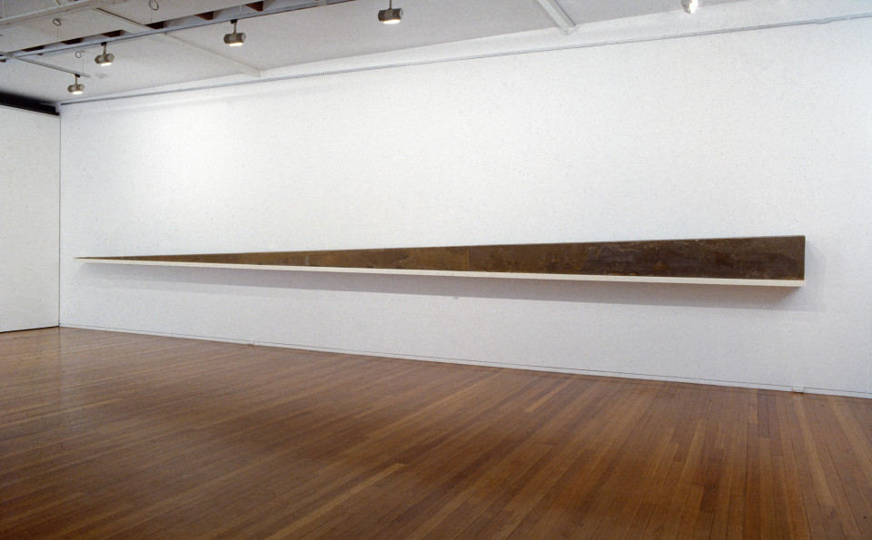 Mike Parr Perspective Wedge (Landscape Deposition), 1991; wax and timber; 45 x 1080 x 25 cm; enquire