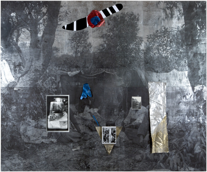 Brook Andrew Earth, 2016; Linen, cotton, acrylic paint, silver gelatin photographs, ink, foil; 250 x 300 x 5 cm; enquire
