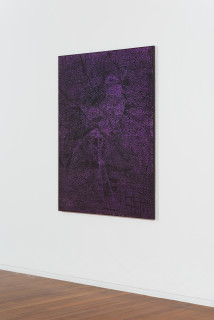 installation view; Daniel Boyd Untitled (CITBSIS), 2020; oil, acrylic, charcoal and archival glue on canvas; 150 x 120 cm; Enquire