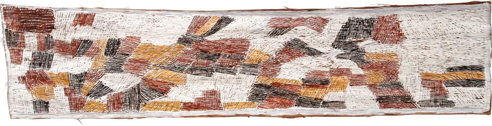 Nyapanyapa Yunupingu 10. Mayilimiriw, 2009; 3567X; Natural earth pigments on bark; 172 x 40 cm; enquire