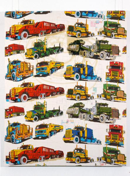 Dale Frank Truck'n Life—Dirty Deacon Tom, 1989; acrylic and mixed media on nylon; 150 x 120 cm; enquire