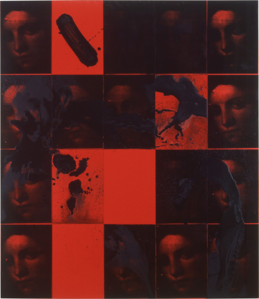 Lindy Lee Imperial Dreams, 1997; acrylic and photocopy on Stonehenge paper on board; 164 x 142.5 cm; 20 panels; enquire