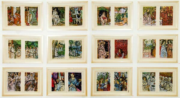 Ken Orchard Twelve scenes from the life of Saint Benedict - Tuscany series (after II Sodoma), 1999; ink, shellac & pastel on pages from Encyclopaedia Britannica (9th edition reprint 1898); 12 works each 27.5 x 42 cm (framed); enquire