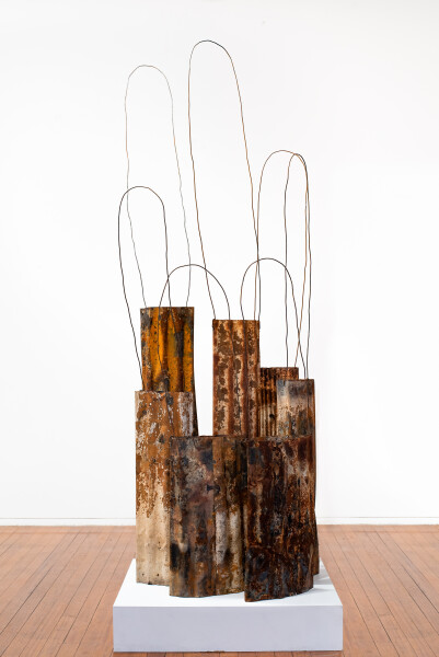Lorraine Connelly-Northey Narrbong-galang, 2019; CONNL - 0002; burnt corrugated iron, wire; dimensions variable; Enquire