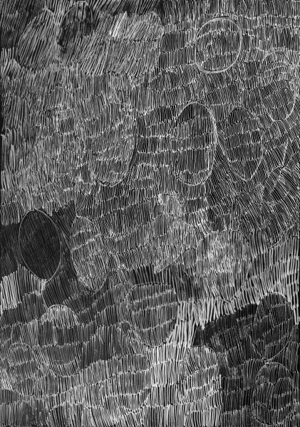 Nyapanyapa Yunupingu 30. Birrka'mirri 1, 2011; 4303E; paint pen on clear acetate plastic; 83.5 x 59.5 cm; enquire