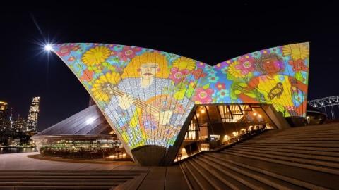Kaylene Whiskey is featured as part of 'Badu Gili: Wonder Women', a light projection on the Sydney Opera House