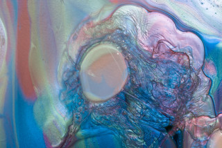 Dale Frank The Dark Lord of Testicular Orchitis (detail), 2021; Interference colour pigment in Epoxyglass, on Perspex; 160 x 120 cm; enquire