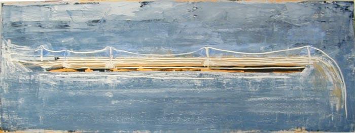 John Firth-Smith Breakwater, 2002; oil on linen; 2ft 6in x 6ft 7in; enquire
