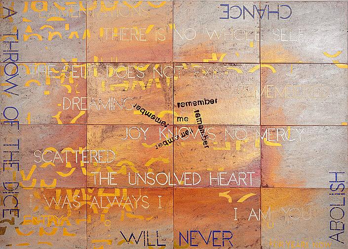 Imants Tillers Nature Speaks: CU, 2010; acrylic, gouache on 16 canvas boards, nos. 88637-88652; 101.6 x 142.2 cm; enquire