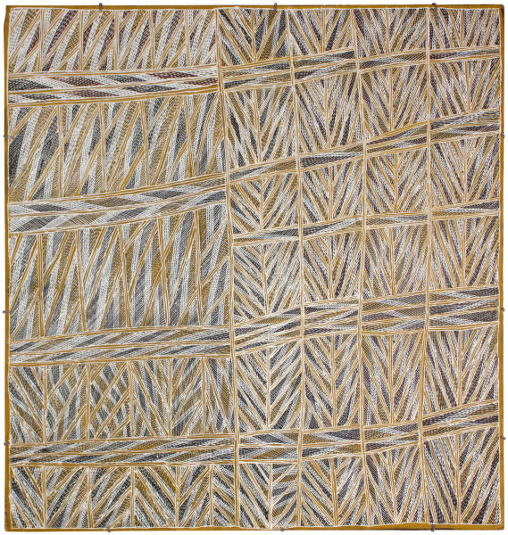 Mulkun Wirrpanda Dhuwa, 2015; 4671G; Bark painting; 121 x 115 cm; Enquire