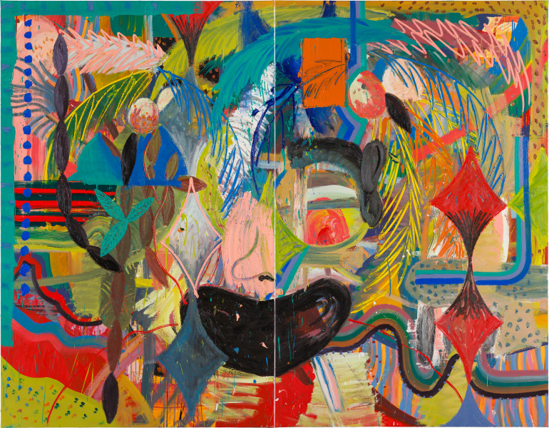 David Griggs Arrojadoa theinisseniana (Mankini Island), 2020; oil on canvas; diptych: 221.5 x 272 cm overall; enquire