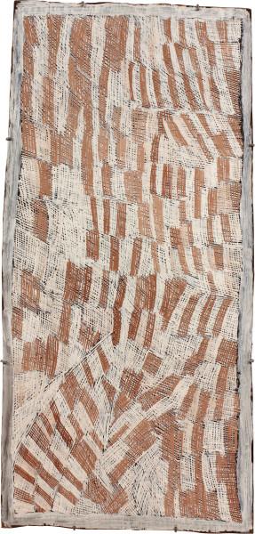 Nyapanyapa Yunupingu Pink and White, 2011; 3961N; natural earth pigments on bark; 118 x 56 cm; enquire