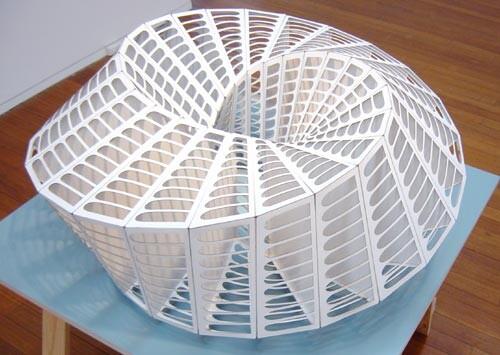 James Angus Palazzo della Civilta Italiana, 2001; laser cut cardboard; 45 cm high x 95 cm diameter; Edition of 5; enquire