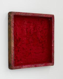 Kirtika Kain The Solar Line VII, 2020; Tar, sindoor pigment, iron filings, gold pigment, disused silk screen; 35 x 35 cm; enquire