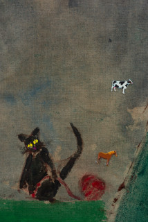 Jenny Watson Girl in a blindfold from the back, with Kitten and ball of wool (detail), 2019; Japanese pigment, acrylic and cardboard decals on rabbit skin glue-printed Belgian linen; 255 x 190 cm; enquire