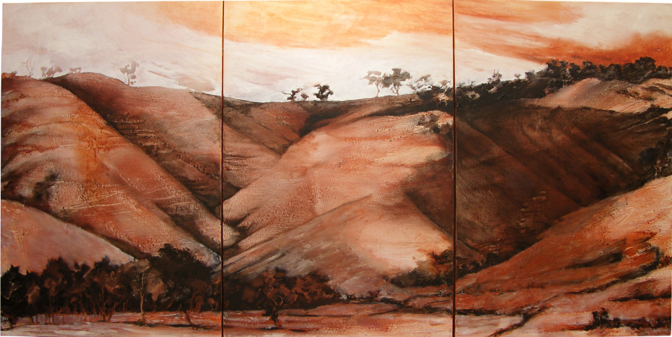Mandy Martin Home Ground 3, 2004; ochre, pigment and oil on linen; 150 x 301.5 cm; enquire