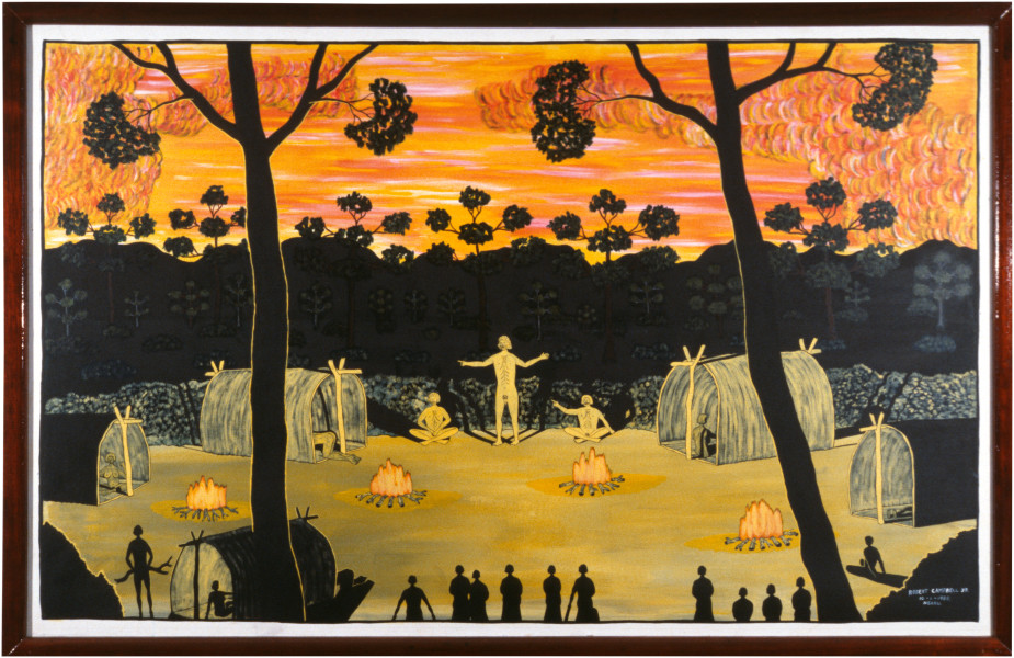 Robert Campbell Jnr Teaching Dreamtime at Sunset, 1988; acrylic on canvas; 112 x 176.5 cm; enquire