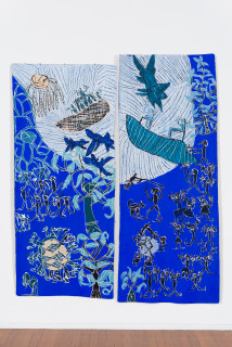 installation view; Dhambit Munuŋgurr Welcoming the Refugees / Scott Morrison and the Treasurer, 2021; 2812-21; 1919-21; earth pigments and acrylic on bark; two panels: 241 x 108 cm; 260 x 102 cm; enquire