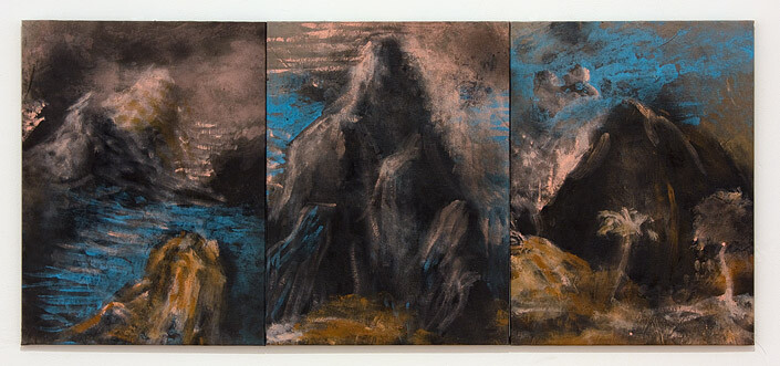 Tony Clark Three sections from Clark's Myriorama (Buehnenbild), 2012; acrylic and permanent marker ink on canvas; 61 x 45.5cm (each panel) 61 x 136.5cm (overall); enquire