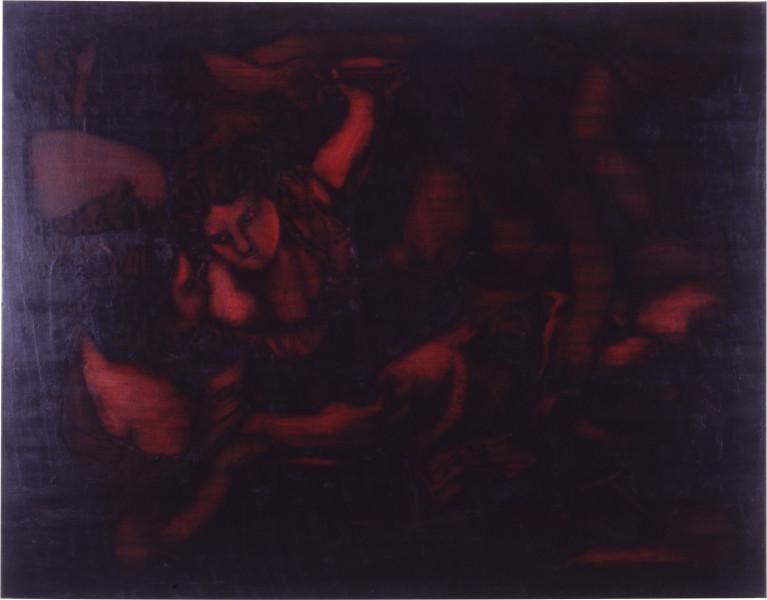 Lindy Lee Strange Saints, 1988; oils and wax on canvas; 141 x 181 cm; enquire