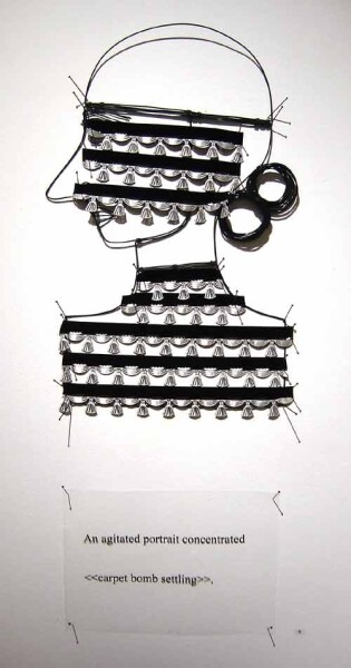 Jacqueline Fraser An agitated portrait concentrated >, 2003; from the series AN ELEGANT PORTRAIT REFINED IN ELEVEN STUDIOUS PARTS >; wire, tassel braid from Chelsea, N.Y; 85 x 35 cm; enquire