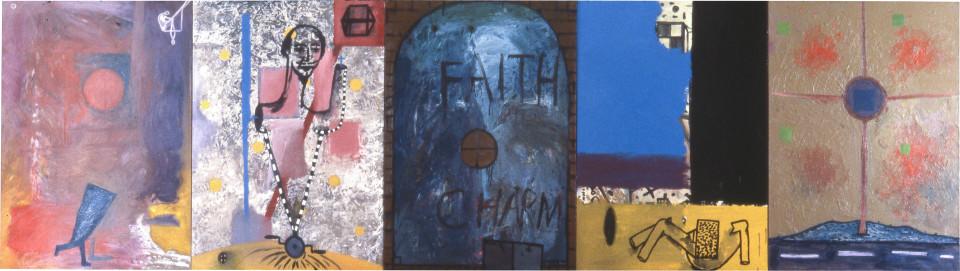 Gareth Sansom Faith and Charm, 1985; oil on canvas; 152 x 533.5 cm; enquire