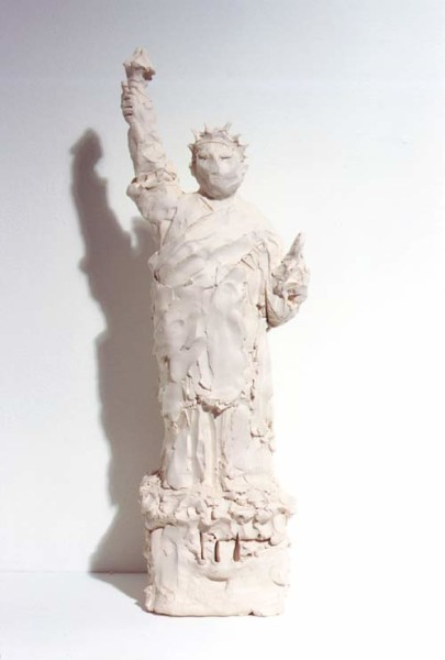 Linda Marrinon Statue of Free Speech after Statue of Liberty, 1998; from the series Sculpture For The Home; Plaster; 52.5 x 16 x 16 cm; enquire
