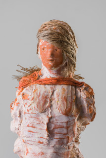 Linda Marrinon The cane collector (detail), 2020; terracotta, plaster and hessian; 74 x 18 x 14 cm; enquire