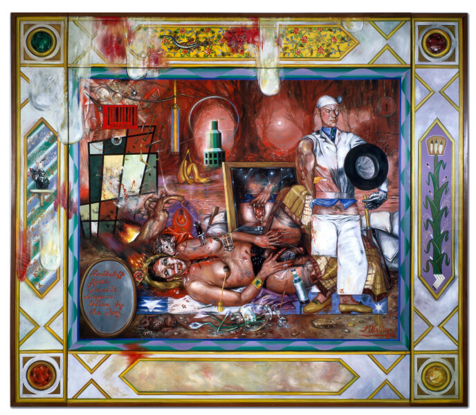 Juan Davila The Barricade, 1989; oil on canvas; 274 x 314 cm; enquire
