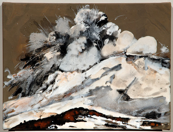 Mandy Martin Epic Fatality; Mount Ruapehu Erupting, 2007; Ochre, pigment and acrylic on arches paper; 30 x 40 cm; enquire