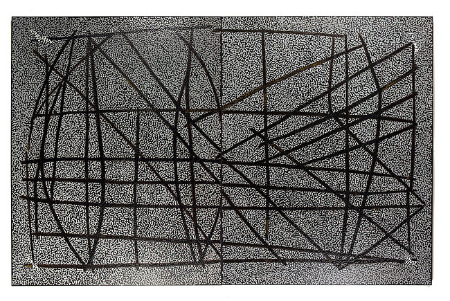 Daniel Boyd Untitled (TI2), 2015; oil and archival glue on linen; 213 x 334 cm; enquire