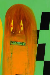 Gareth Sansom Try harder! (detail), 2020; oil and enamel on linen; 152 x 122 cm; enquire