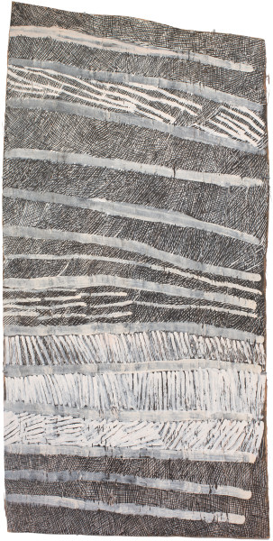 Nyapanyapa Yunupingu Lines, 2017; 4970-17; natural earth pigments on bark; 156 x 77 cm; enquire