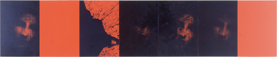 Lindy Lee Being and Being, 1999; photocopy, oil, acrylic and wax on board; 7 panels, 41.5 x 206.5 cm; enquire
