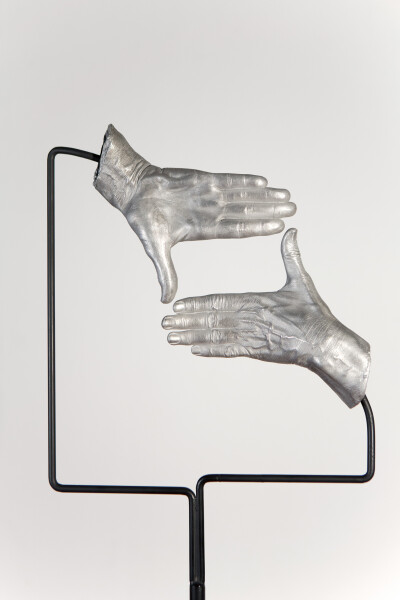 Julie Rrap Instrument: Framing, 2015; cast aluminium and steel; 175 x 35 x 35 cm; Edition of 5 + AP 1; enquire