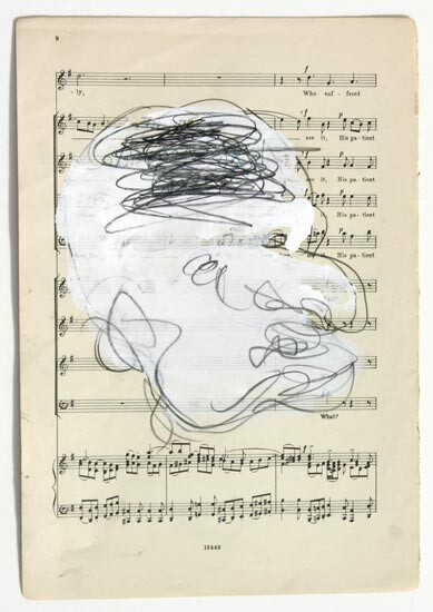 Newell Harry Untitled, 2006; gesso and oil stick on music sheet paper; 27.5 x 19 cm; enquire