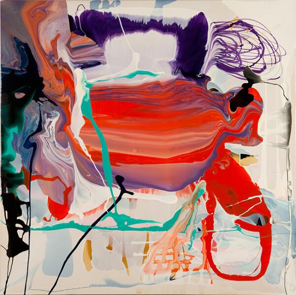 Dale Frank Araucaria Columnaris Toxic Terry, 2011; varnish on canvas; 180 x 180 cm; enquire